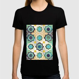 Marrakesh gold and blue geometry inspiration T-shirt