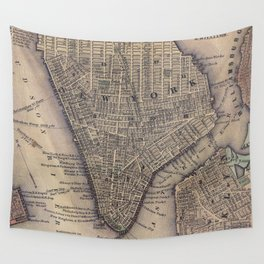 Vintage NYC and Brooklyn Map (1847) Wall Tapestry