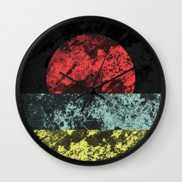 Sunset Beach - Abstract, marble effect, geometric painting Wall Clock