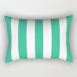 Mountain Meadow green - solid color - white vertical lines pattern Rectangular Pillow