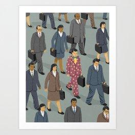Happy commuter Art Print