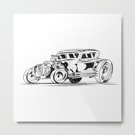 Sketched Out Hot Rod Metal Print