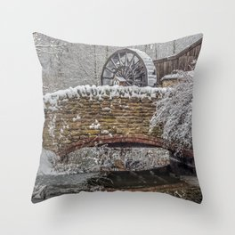 watermill in the snow Throw Pillow