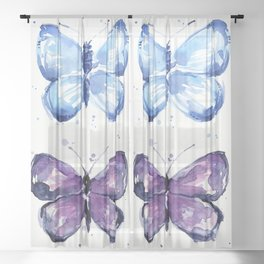 Blue Butterfly Watercolor Sheer Curtain