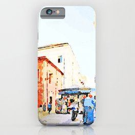 Teramo: foreshortening with red buildings and newspaper kiosk iPhone Case