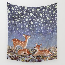 whitetail fawns under the stars Wall Tapestry