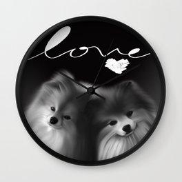 LOVE Pomeranians Wall Clock