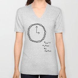 Be Happy - black and white illustration Unisex V-Neck