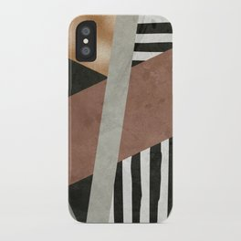 Abstract Geometric Composition in Copper, Brown, Black iPhone Case