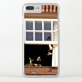 Red Window full of birds Clear iPhone Case