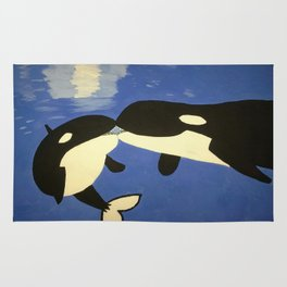 Mother and Child Whales Rug