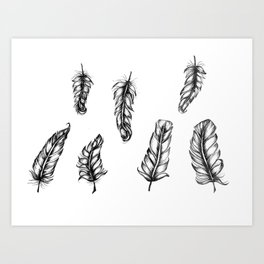 Inked Feather Pattern Art Print