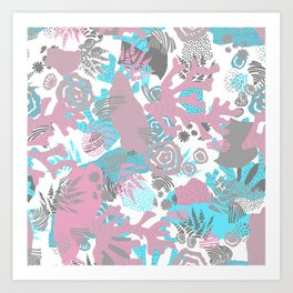 Artistic nautical teal pink gray coral floral pattern Art Print
