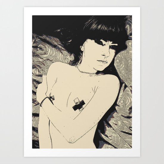 Submission in black Art Print