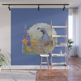 California Quail with Poppies and Lupine on Blue Wall Mural