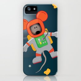 Space Mouse floating in space iPhone Case