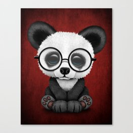 Cute Panda Bear Cub with Eye Glasses on Red Canvas Print