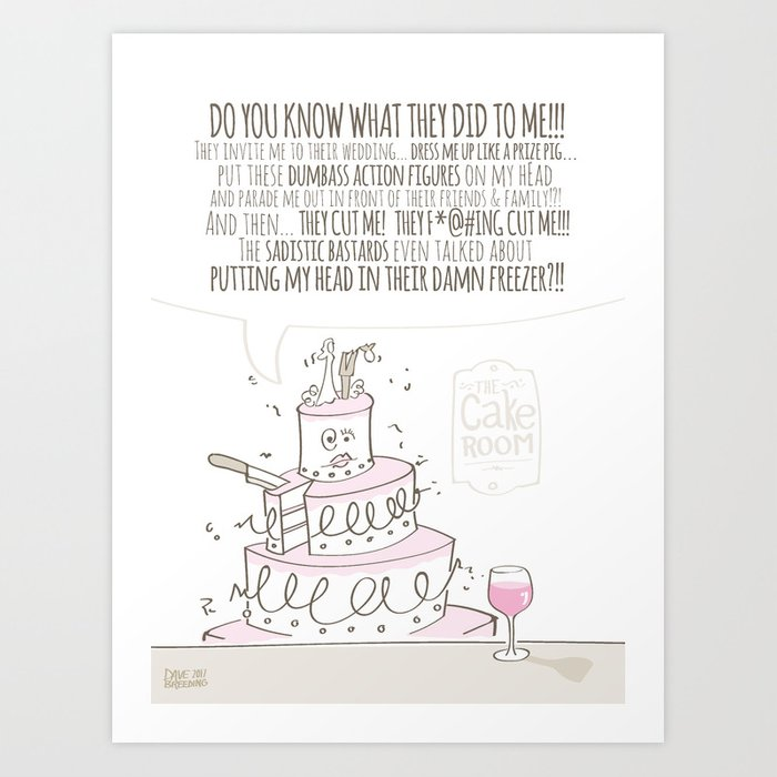 Angry Wedding Cake Funny Wedding Card Art Print By