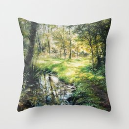 Landscape of a forest and river Throw Pillow