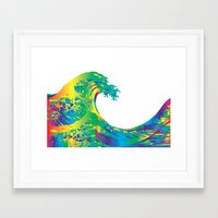 hokusai Framed Art Prints featuring Hokusai Rainbow_A by FACTORIE