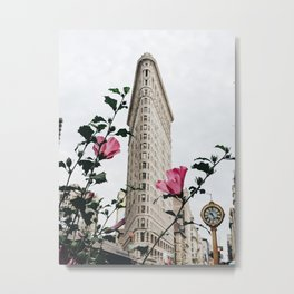 Flatiron Building with Pink Flowers in New York City Photography Metal Print