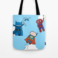superheros Tote Bags featuring Superheros by oekie