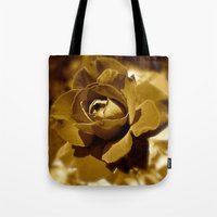 rose gold Tote Bags featuring Gold Rose by SouthernComfortArt