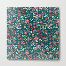 flory night pattern design (green) Metal Print