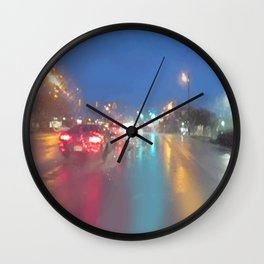 """"""" RAINY NIGHT DRIVE """" Wall Clock"""