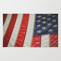 american flag Area & Throw Rugs featuring American Flag by alltheprettythings