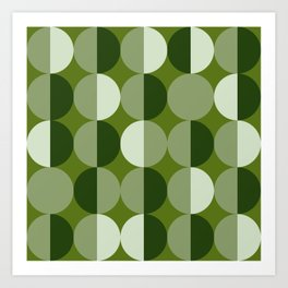 Retro circles grid green Art Print