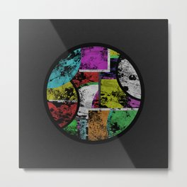 Pastel Porthole - Abstract, geometric, textured, pastel coloured artwork Metal Print