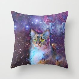 Proud Cat With Space Background                                                                   Throw Pillow