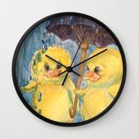 ducks Wall Clocks featuring Ducks by Corinne Fallone