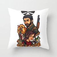 the last of us Throw Pillows featuring The Last of Us by Warbunny