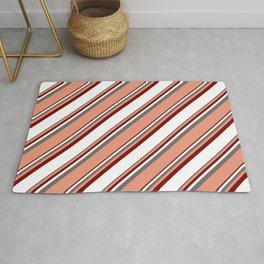 Dim Gray, Dark Salmon, Maroon & White Colored Lines/Stripes Pattern Rug