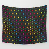 records Wall Tapestries featuring disco records by kociara