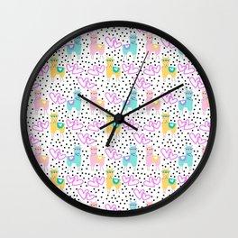 Funny cute teal pink romantic lama black polka dots Wall Clock