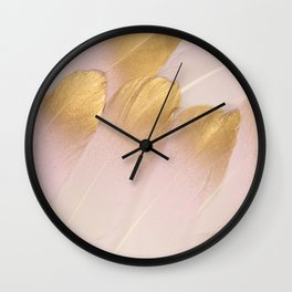Gold Tipped Pink Feathers Wall Clock