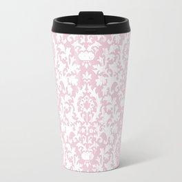Vintage blush pink white grunge floral damask Travel Mug