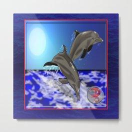 Darrell Merrill Nerd Artist Dolphin's Metal Print