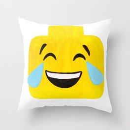 Tears of Joy - Emoji Minifigure Painting Throw Pillow