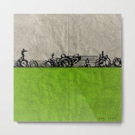 Run - Remix In Green Metal Print