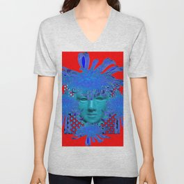BOHEMIAN RED BLUE DECORATIVE ABSTRACT FACE ART Unisex V-Neck
