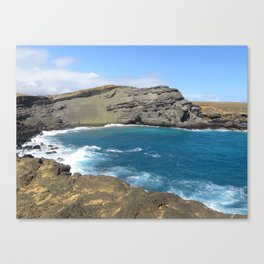 Green Beach and Turquoise Ocean Canvas Print