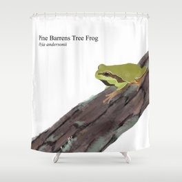 Pine Barrens Tree Frog (Hyla andersonii) on Pitch Pine Log Shower Curtain
