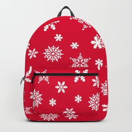 Snow Flurries-Christmassy Red Backpack