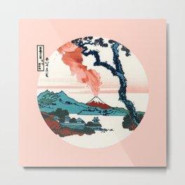 Hokusai View Of Mount Fuji With Eruption Metal Print