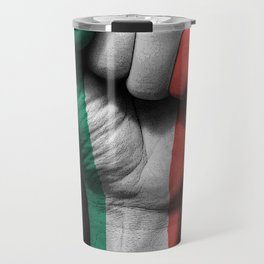 Italian Flag on a Raised Clenched Fist Travel Mug