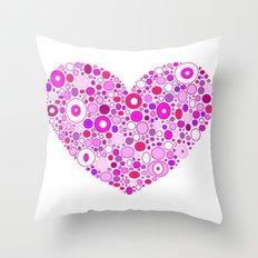 Retro Pink Heart Throw Pillow